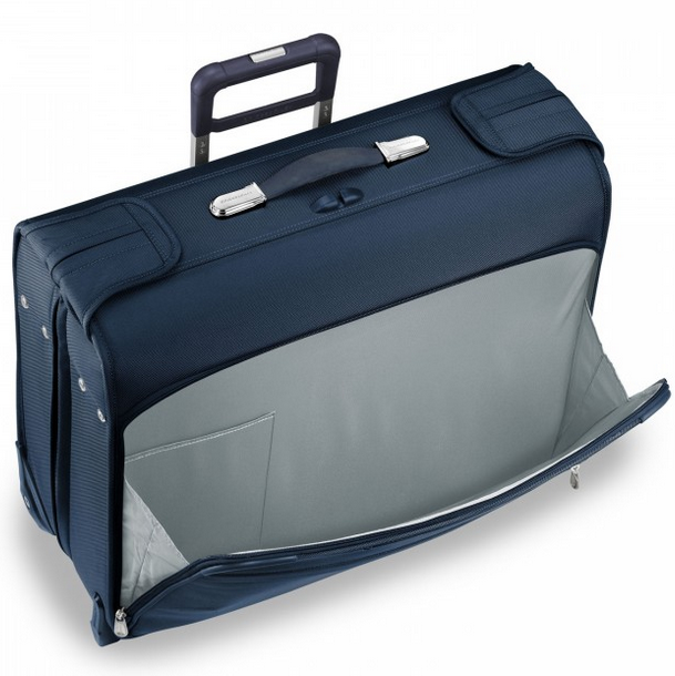 Briggs & Riley Baseline Deluxe Wheeled Garment Bag Front Pocket Navy