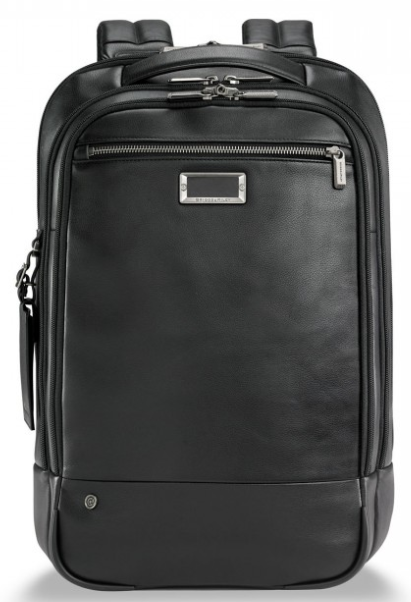Briggs & Riley @Work Leather Medium Backpack Black Front