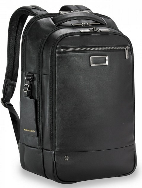 Briggs & Riley @Work Leather Medium Backpack Black