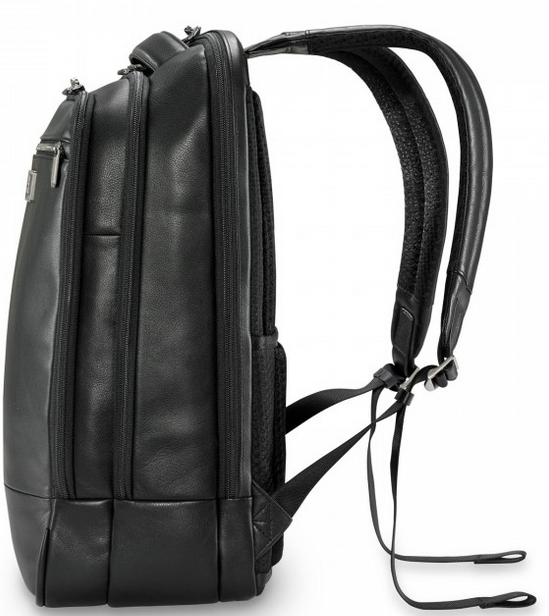 Briggs & Riley @Work Leather Medium Backpack Side