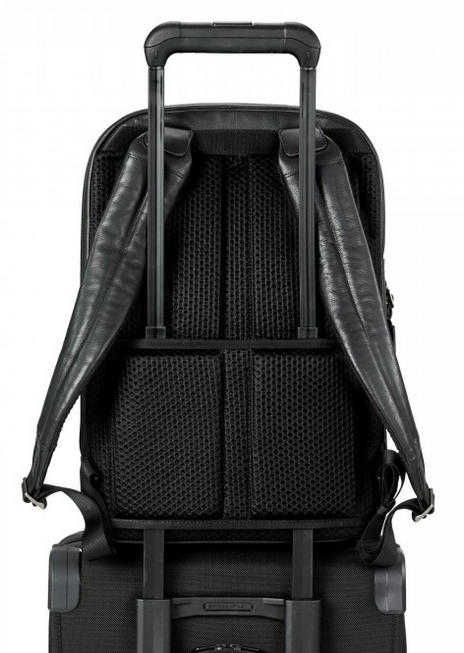 Briggs & Riley @Work Leather Medium Backpack On Suitcase