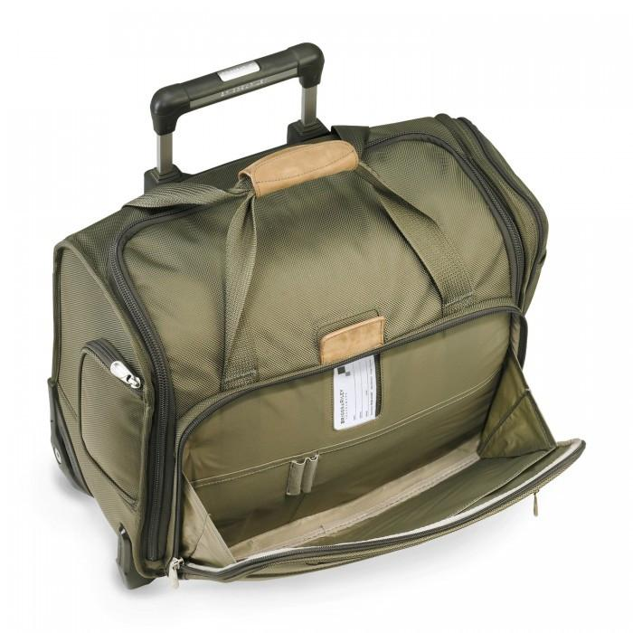 Briggs & Riley Baseline Rolling Cabin Bag Olive Front Pocket Open