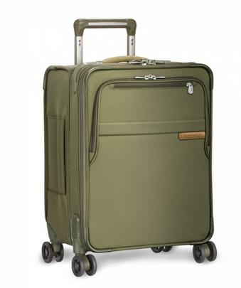 "Briggs & Riley Baseline Commuter Expandable 19"" Spinner Carry-On Olive Green"