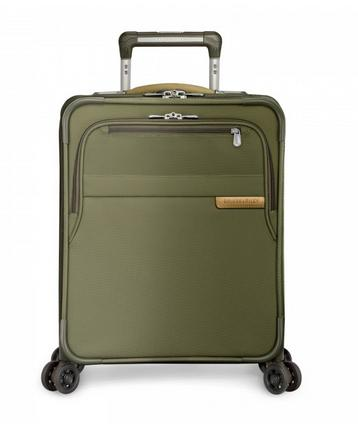 "Briggs & Riley Baseline Commuter Expandable 19"" Spinner Carry-On Olive Green Front"