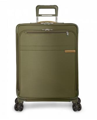 "Briggs and Riley Baseline Medium 25"" Expandable Spinner Olive Front View"