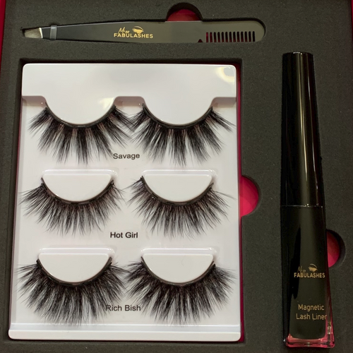 Magnetic False Eyelashes Set with Liner - Miss Fabulashes