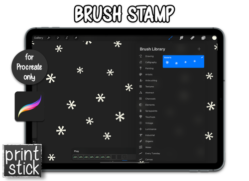 Procreate Add-On: Asterix Brush Stamp - Print Stick