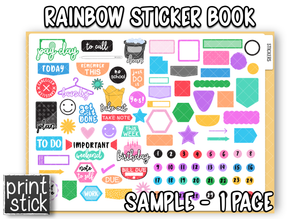 Digital Planner Sticker Book - Rainbow (Sample) - Print Stick