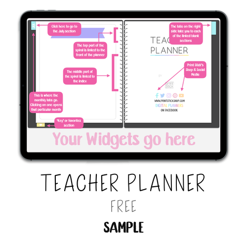 𝘍𝘙𝘌𝘌 𝗗𝗶𝗴𝗶𝘁𝗮𝗹 𝗣𝗹𝗮𝗻𝗻𝗲𝗿 - Teacher Planner - Print Stick