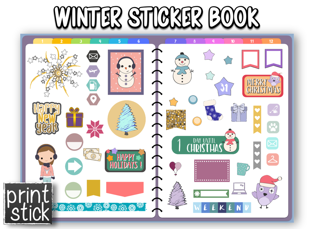 Winter Sticker Book - Print Stick