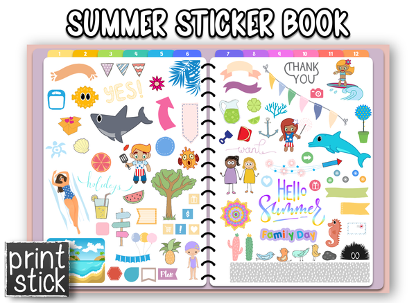 Summer Sticker Book - Print Stick
