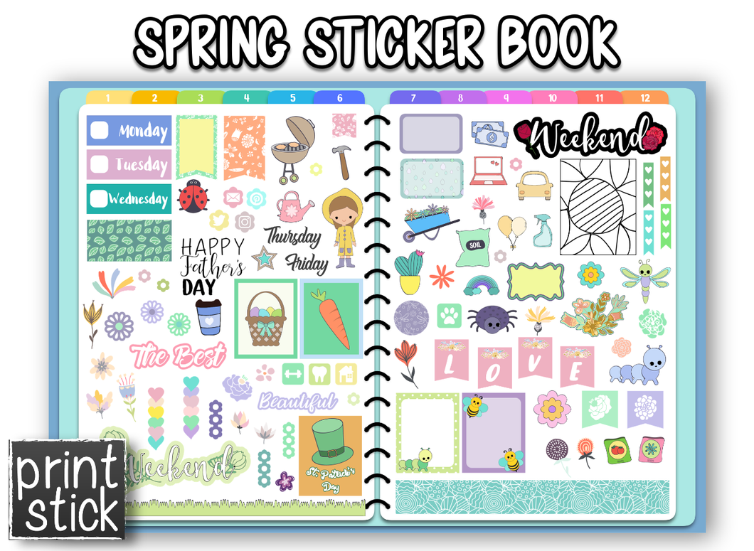 Spring Sticker Book - Print Stick