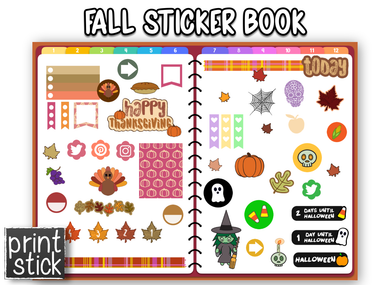 Fall Sticker Book - Print Stick