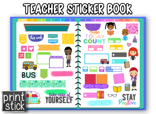 Teacher Sticker Book - Print Stick