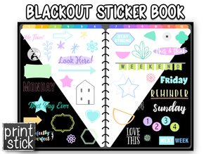 Blackout - Digital Planner Sticker Book - Print Stick