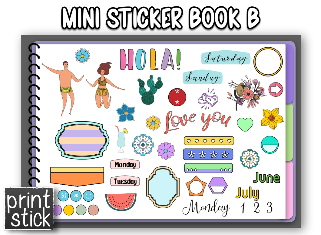 Mini Sticker Book - B - Print Stick