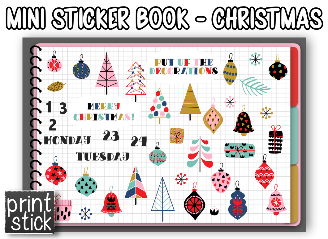 Mini Sticker Book - Christmas - Print Stick