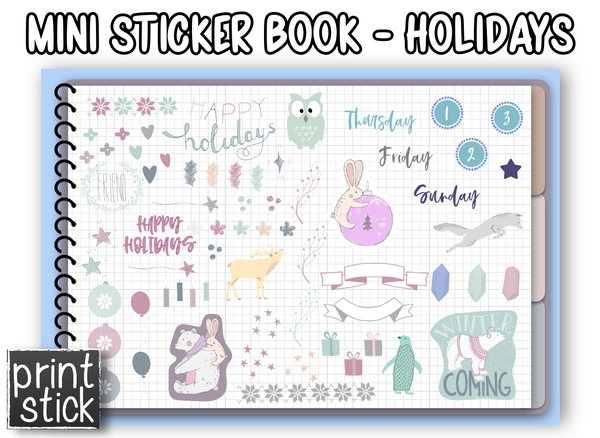 Mini Sticker Book - Holidays - Print Stick