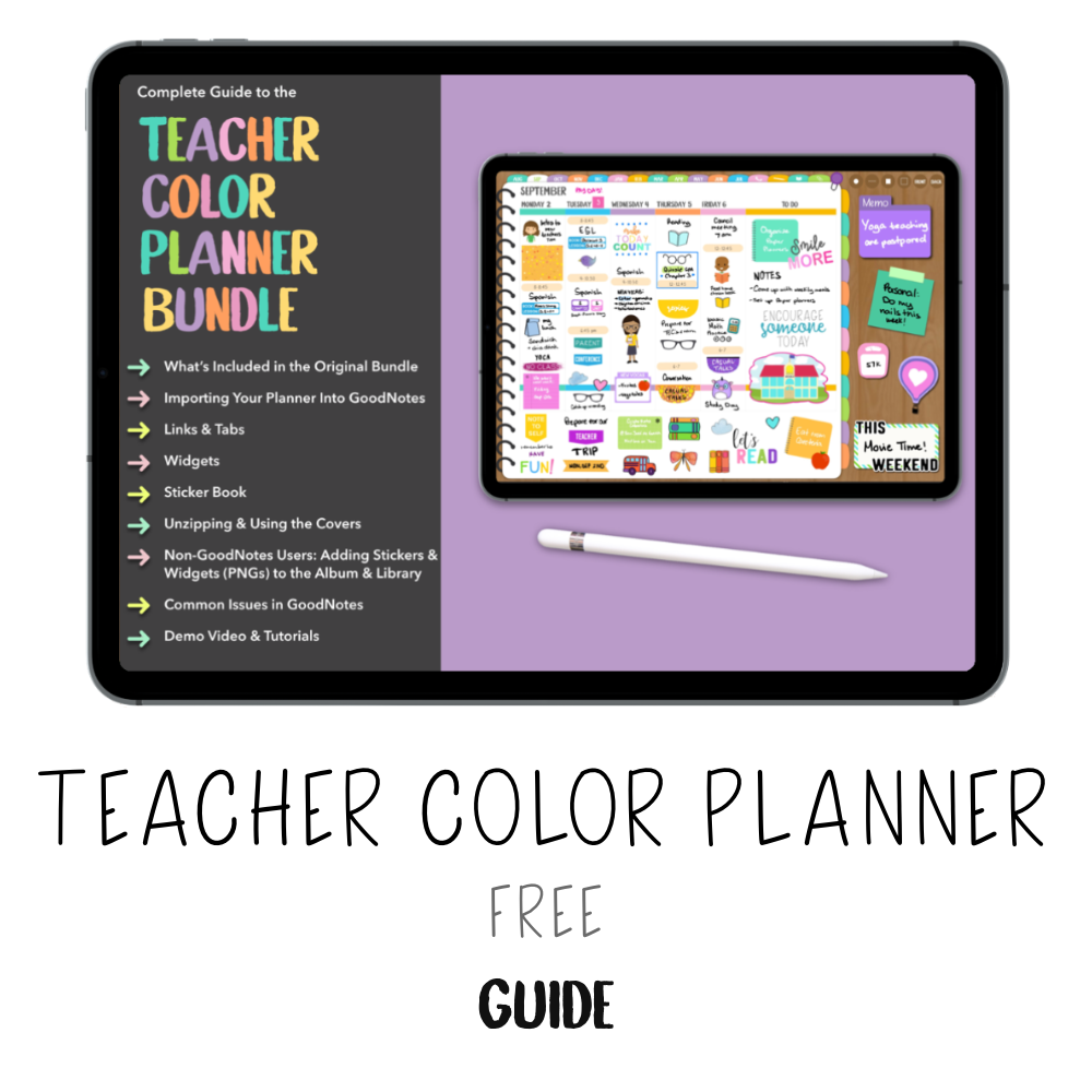 𝘍𝘙𝘌𝘌 𝗗𝗶𝗴𝗶𝘁𝗮𝗹 𝗚𝘂𝗶𝗱𝗲 - Teacher Color Planner - Print Stick