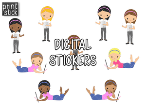 SS Digital Planner Girl Digital Planner Stickers - Print Stick