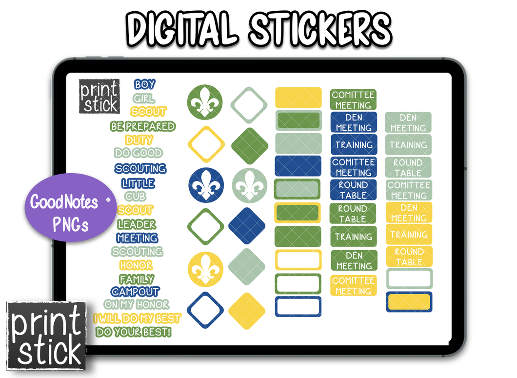 SS Scouts Digital Planner Stickers - Print Stick