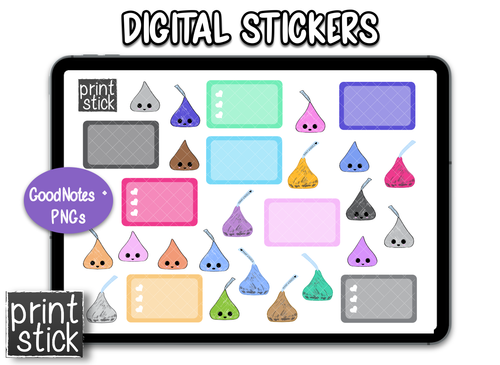 SS Kisses Digital Planner Stickers - Print Stick