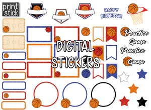 SS Basketball Digital Planner Stickers - Print Stick