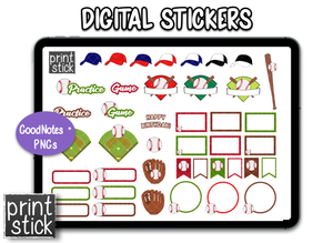 SS Baseball Digital Planner Stickers - Print Stick