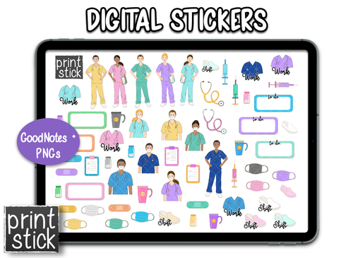 SS Nurse Digital Planner Stickers - Print Stick
