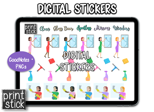 SS Clean Window Digital Planner Stickers - Print Stick