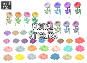 SS Watercolor Florals 1 Digital Planner Stickers - Print Stick