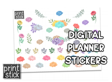 Load image into Gallery viewer, SS Watercolor Florals 1 Digital Planner Stickers - Print Stick