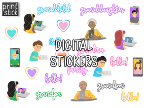 SS Video Chat Digital Planner Stickers - Print Stick