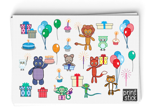 SS- Party Animals Digital Planner Stickers - Print Stick