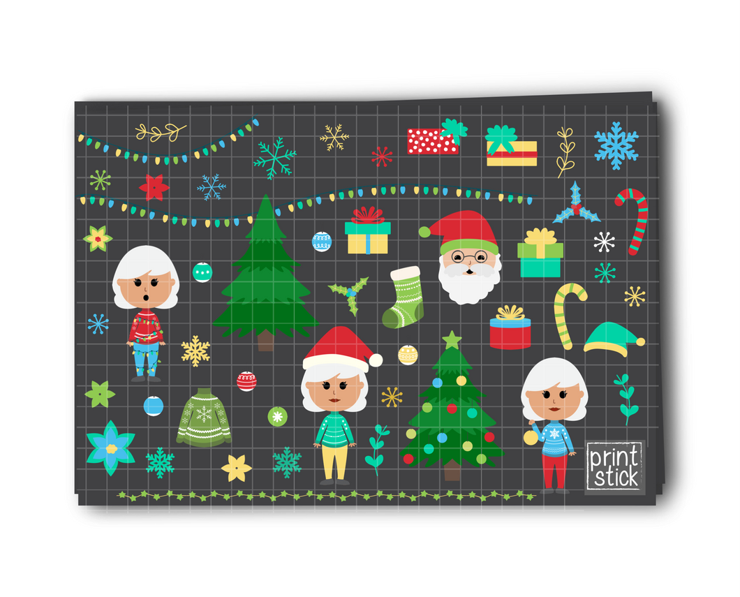 SS- Christmas Digital Planner Stickers - CC - Print Stick