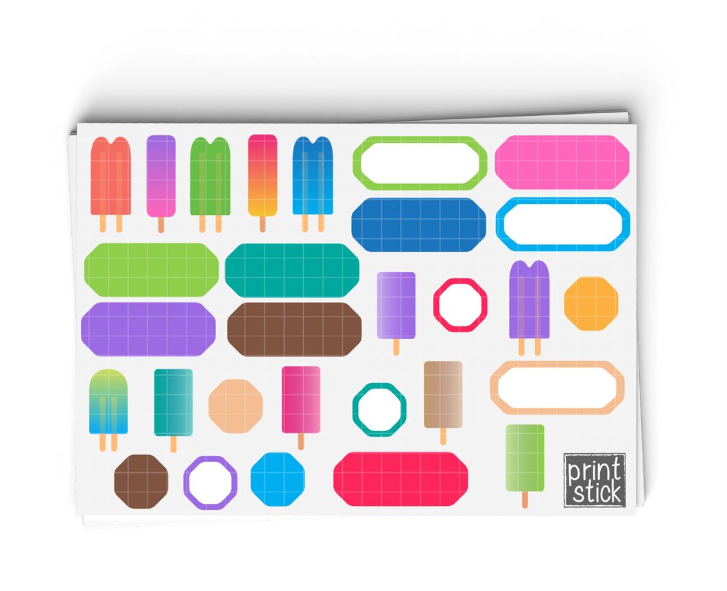 SS- Popsicle Digital Planner Stickers - Print Stick