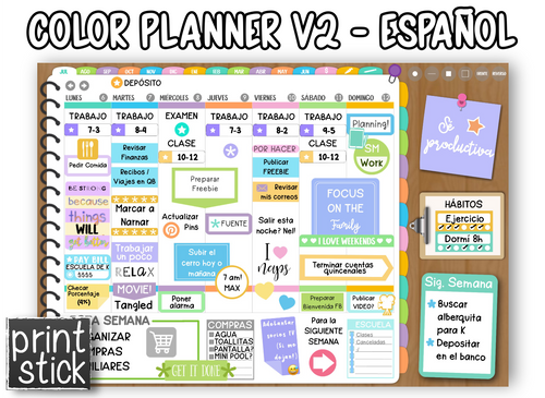 En Español: Agenda Digital Color Planner V2 - Print Stick