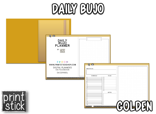 Daily BuJo Planner - Golden - Print Stick