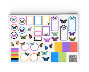 SS- Butterflies Digital Planner Stickers - Print Stick