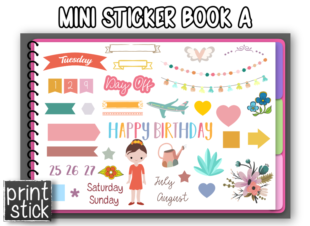 Bo - Mini Sticker Book #1 - Print Stick