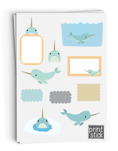SS Narwhal Digital Planner Stickers - Print Stick