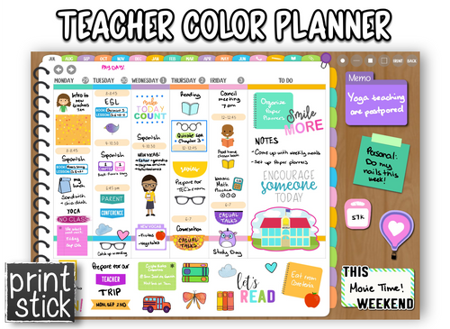 Teacher Color Planner - Print Stick