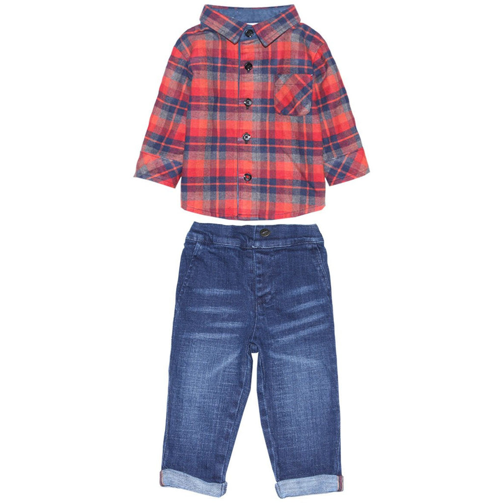 Shirt & Pant Set - Plaid Flannel Shirt with Denim Trouser