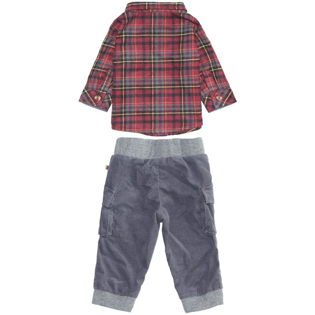 Shirt & Pant Set - Log Cabin Flannel with Corduroy Joggers