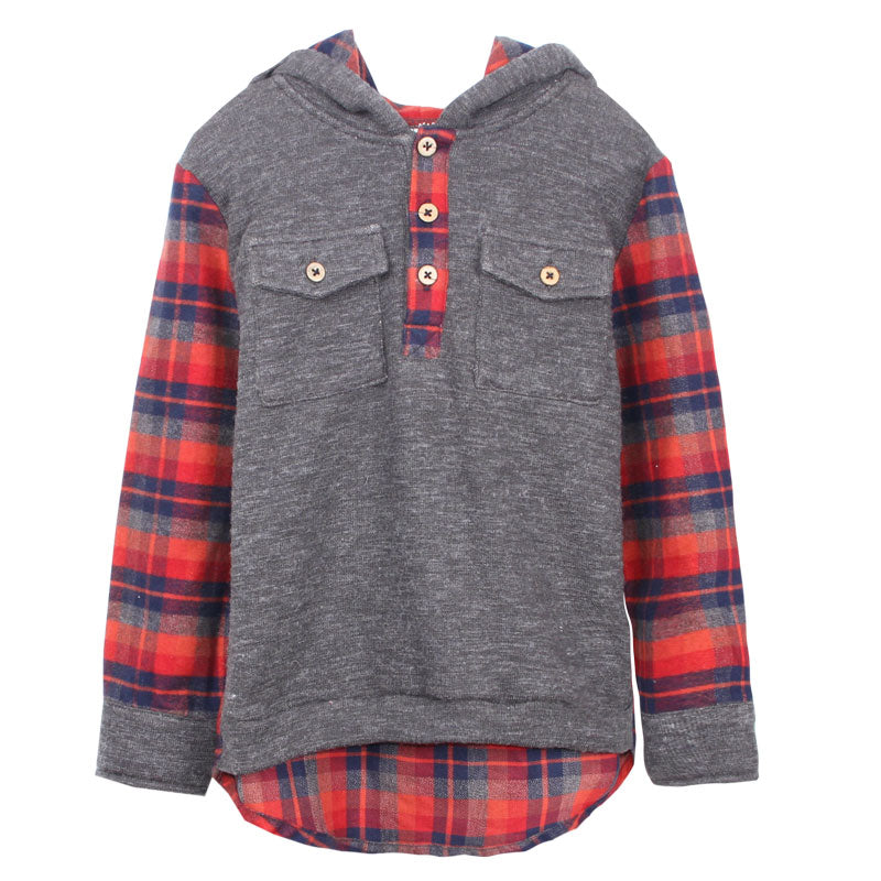 Hoodie - French Terry Plaid