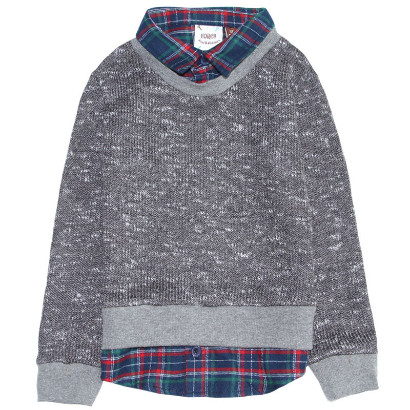 Sweater - Grey with Plaid Contrast