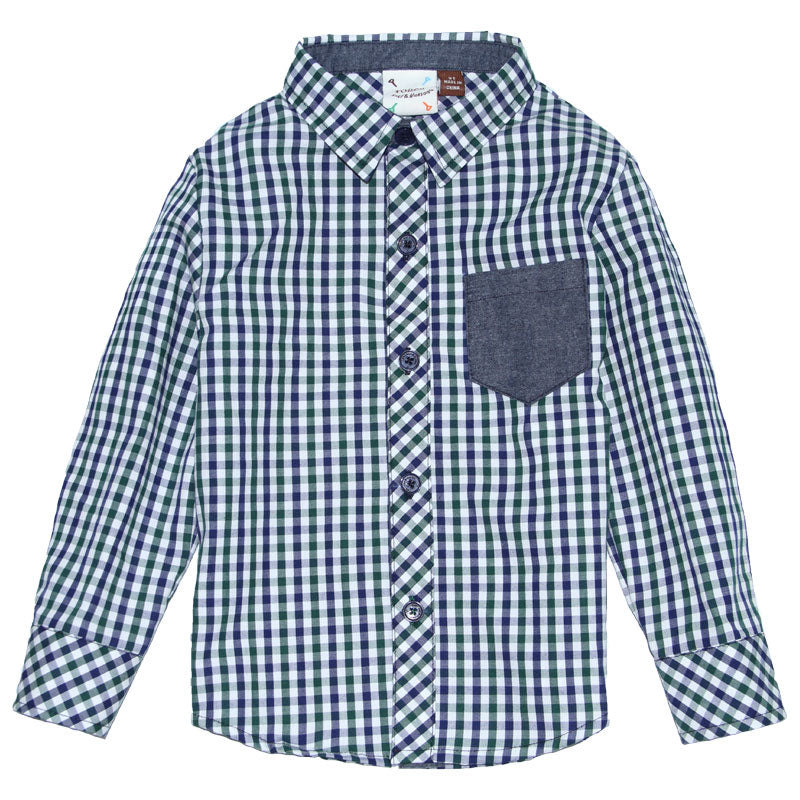Shirt - Navy/Green Gingham