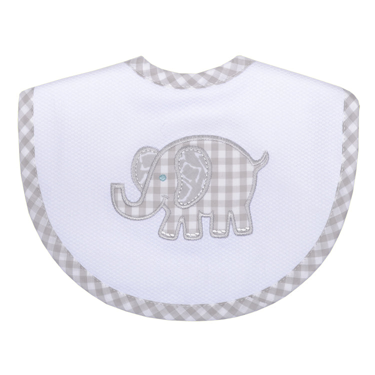 Appliqued Feeding Bib - Gray Elephant