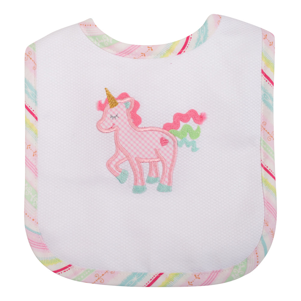 Appliqued Feeding Bib - Unicorn