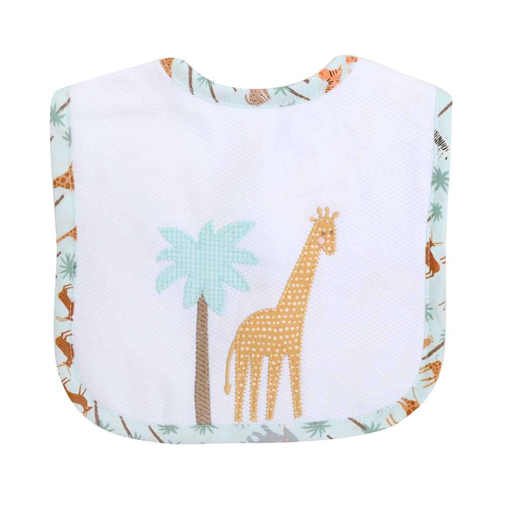 Appliqued Feeding Bib - Safari